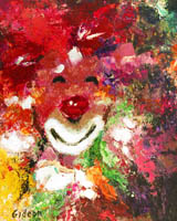 Gideon Painting: Clowns Collection — Hide n'Seek, Oil.