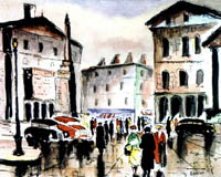 Gideon Painting: Decor Collection — Place Vendome, Pen and Watercolor.