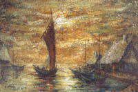 Gideon Painting: Masters Collection — Harbor at Dusk, Oil.