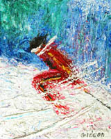 Gideon Painting: Sports Collection — Downhill Racer, Oil.