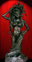 Gideon Sculpture: Black Eve with Sculpted Pedestal, Life–Size, Welded Steel and Compound.